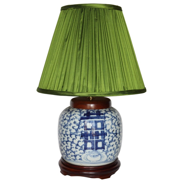 Antique Hand Painted Blue And White Ginger Jar Lamp With Handmade Silk Shade