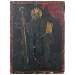 Antique Hand Painted Christian Icon on Board Saint Patrick Wood Panel