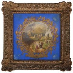 "Antique Hand-Painted Copeland Porcelain Plaque ""Milatus"" Giltwood Frame"