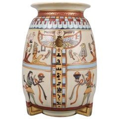 Antique Hand Painted Egyptian Revival Nippon Porcelain Footed Vase, circa 1920