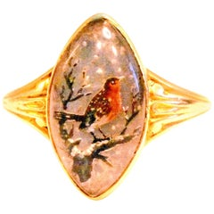 Antique Hand Painted Essex Crystal Ring Depicting a Robin, 1860