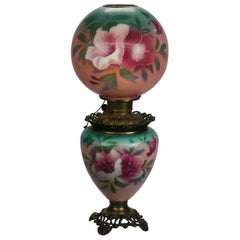 Antique Hand-Painted Floral Gone with the Wind Parlor Lamp, circa 1890