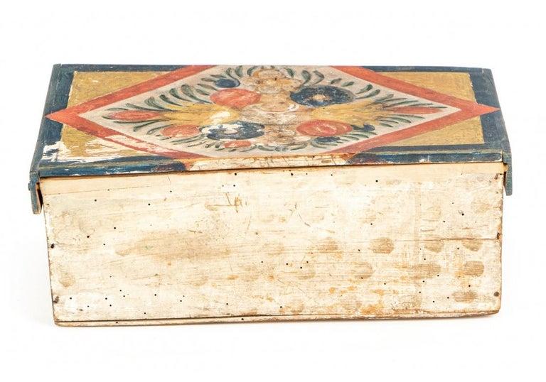 19th Century Antique Hand Painted Folk Art Pine Box For Sale