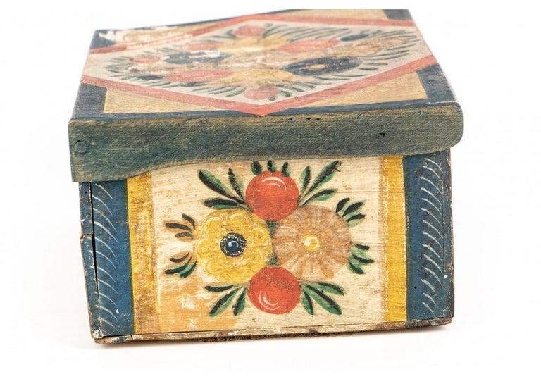 Antique Hand Painted Folk Art Pine Box For Sale 1