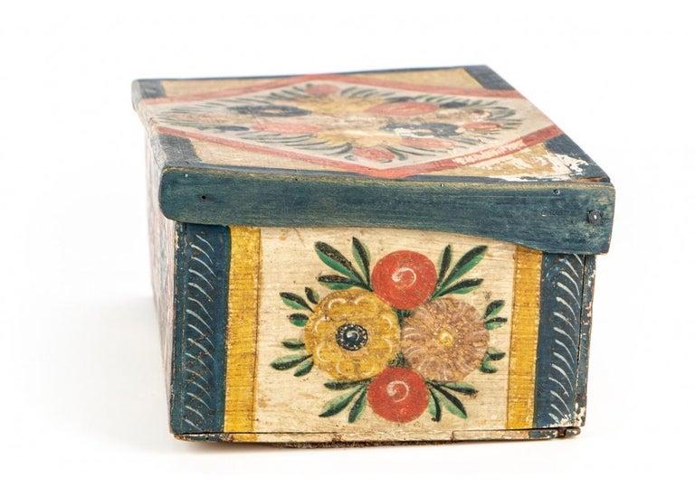 Antique Hand Painted Folk Art Pine Box For Sale 2