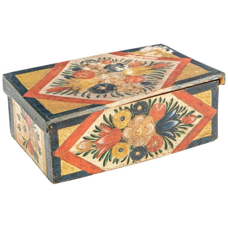 Antique Hand Painted Folk Art Pine Box For Sale