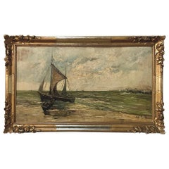 Antique Hand Painted Framed Oil Painting on Board, Signed G. Helenak
