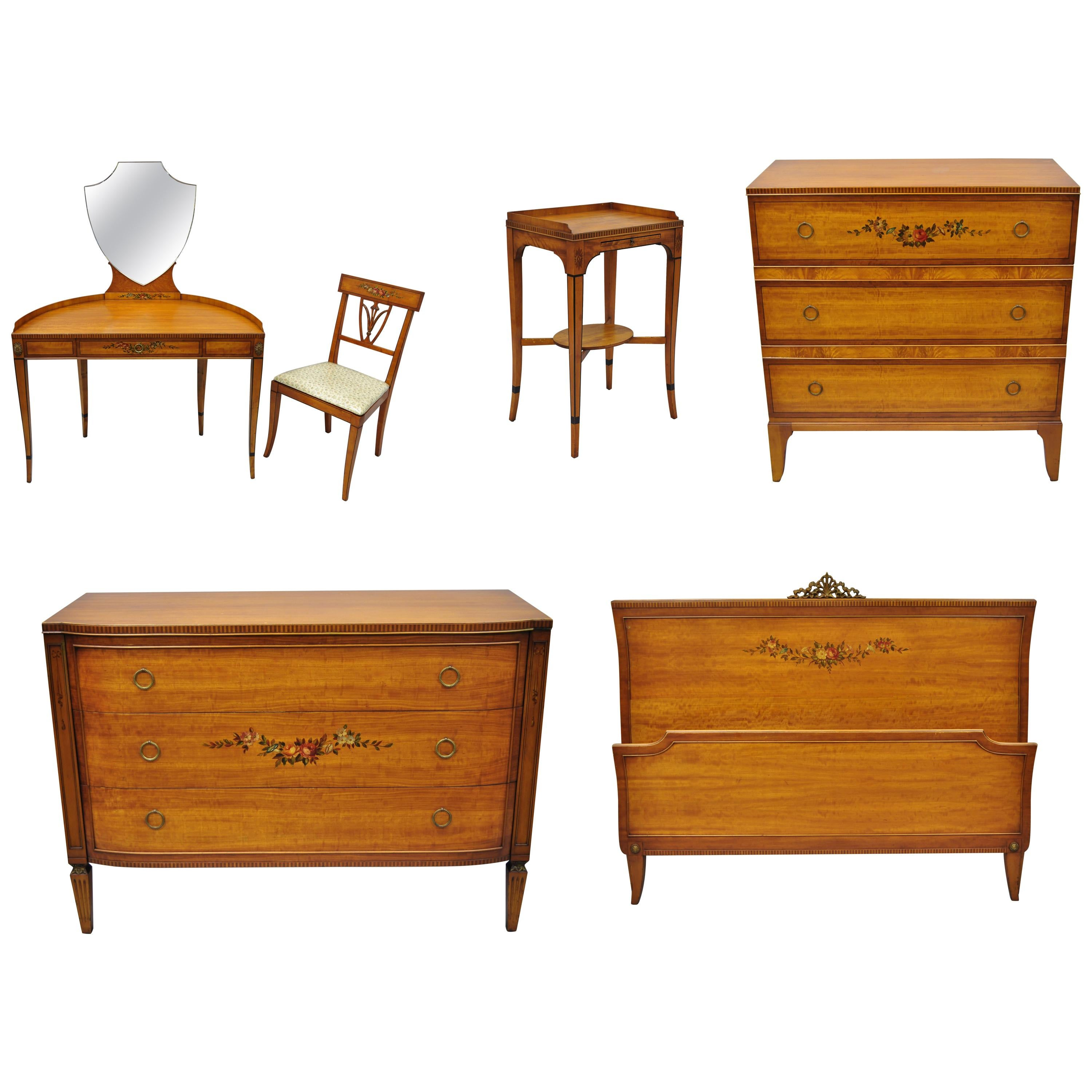 Antique Hand Painted French Adam Style 6 Piece Satinwood Bedroom Set By  Irwin For
