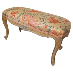 Antique Hand Painted French Bench with New Upholstery