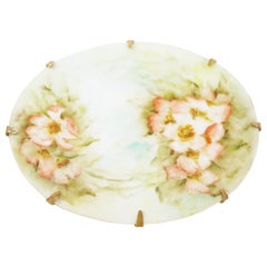 Antique Hand Painted French Limoges Porcelain Floral Brooch, 1800s