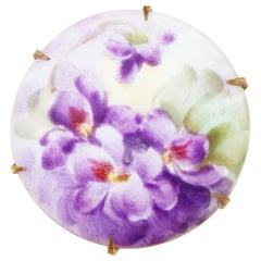 Antique Hand Painted French Limoges Porcelain Purple Flowers Brooch, 1800s