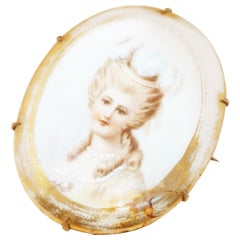 Antique Hand Painted French Limoges Porcelain Victorian Woman Brooch, 1800s