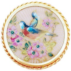Antique Hand-Painted Limoges Porcelain Spring Birds Brooch by P. Pastaud, 1920s