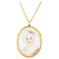 Antique Hand Painted Limoges Porcelain Victorian Woman Pendant Necklace, 1800s