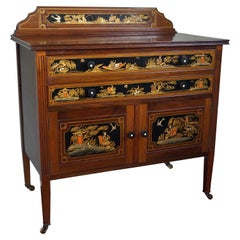 Antique & Hand-Painted, Mahogany Dresser / Commode in Stunning Chinoiserie Style