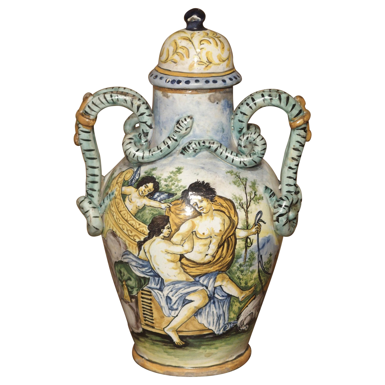 Antique Hand Painted Majolica Vase from Umbria, circa 1870