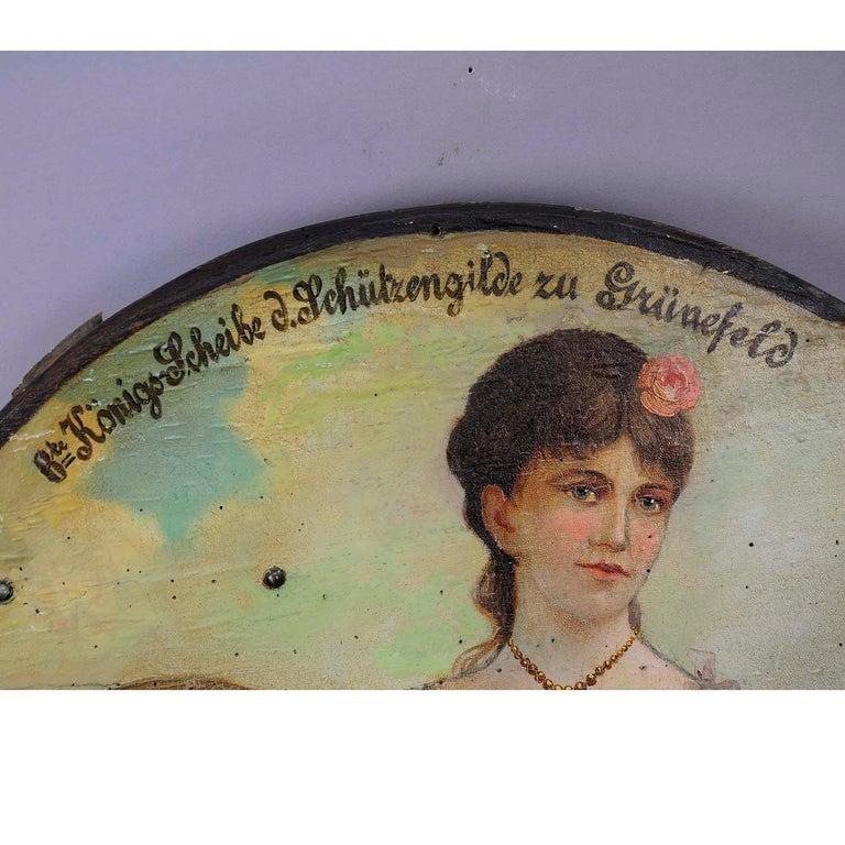 Black Forest Antique Hand Painted Marksman King Target Plaque, 1892 For Sale