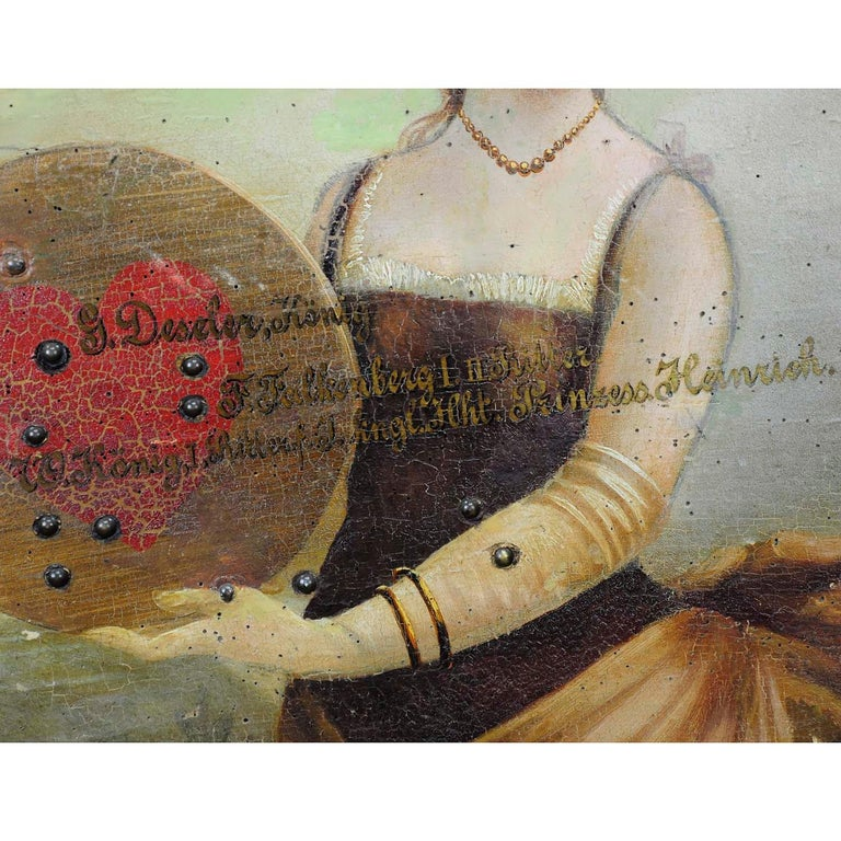 German Antique Hand Painted Marksman King Target Plaque, 1892 For Sale