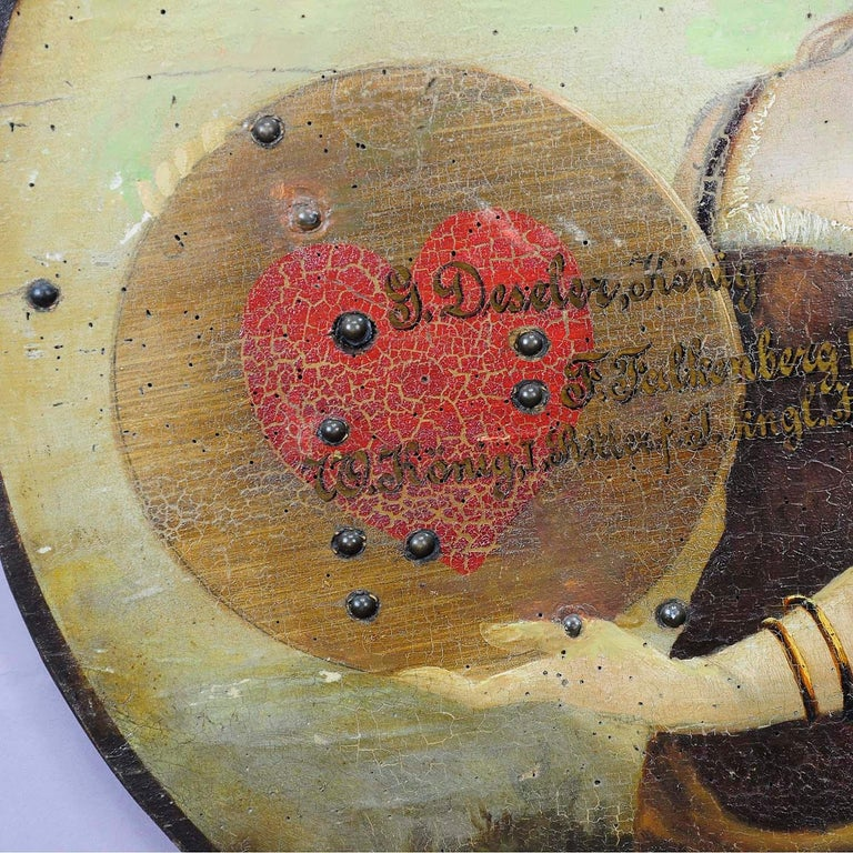 Antique Hand Painted Marksman King Target Plaque, 1892 In Good Condition For Sale In Berghuelen, DE