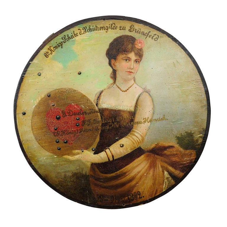 Antique Hand Painted Marksman King Target Plaque, 1892 For Sale