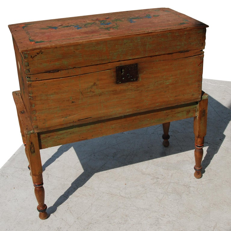 Rustic Antique, Hand Painted Mexican Wedding or Hope Chest on Stand For Sale