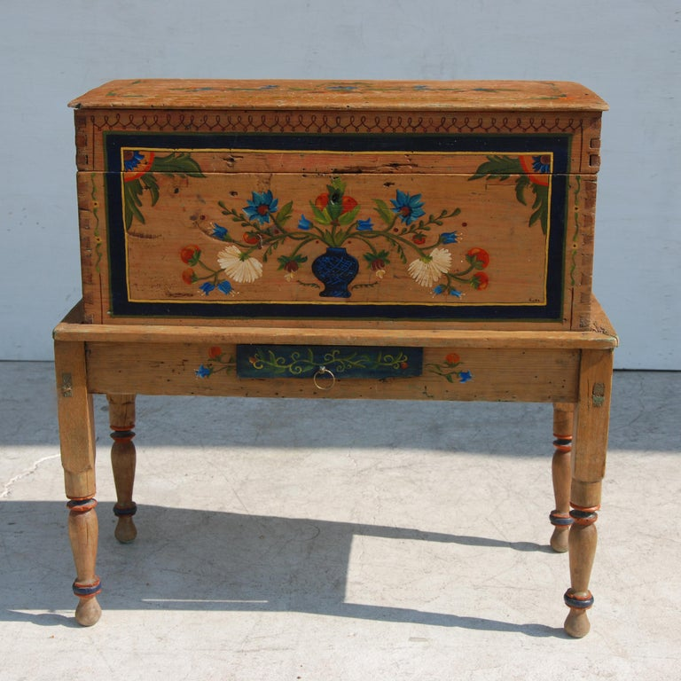 20th Century Antique, Hand Painted Mexican Wedding or Hope Chest on Stand For Sale