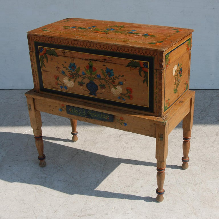 Wood Antique, Hand Painted Mexican Wedding or Hope Chest on Stand For Sale