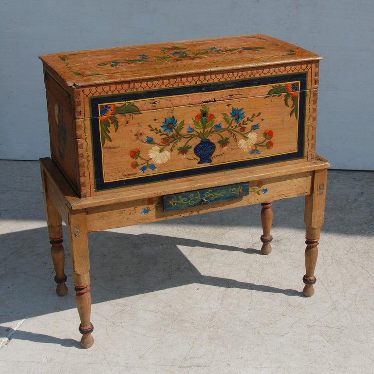 Antique, Hand Painted Mexican Wedding or Hope Chest on Stand For Sale 1