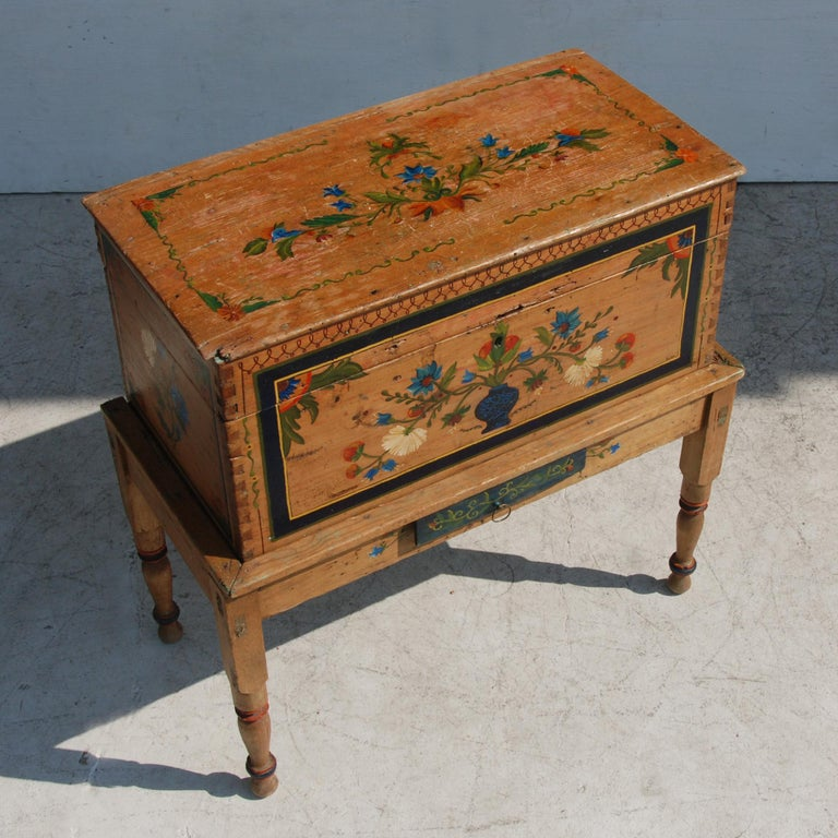 Antique, Hand Painted Mexican Wedding or Hope Chest on Stand For Sale 2