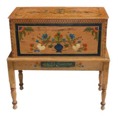 Antique, Hand Painted Mexican Wedding or Hope Chest on Stand