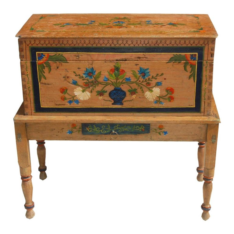Antique, Hand Painted Mexican Wedding or Hope Chest on Stand For Sale