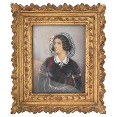 Antique Hand Painted Miniature Portrait of Lola Montez, Lady with Ringlets