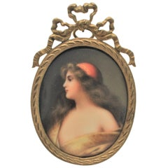 Antique Hand Painted Miniature Portrait on Porcelain in a Brass Easel Frame