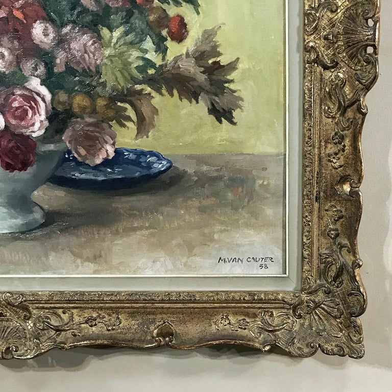 Antique Hand Painted Oil on Canvas by Marcel Van Cauter For Sale 3