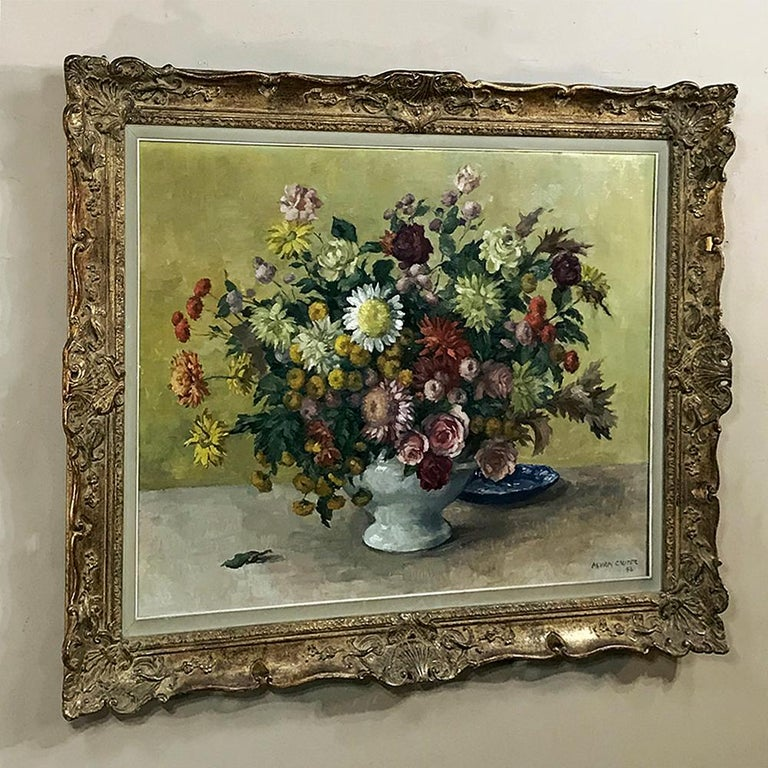 Expressionist Antique Hand Painted Oil on Canvas by Marcel Van Cauter For Sale
