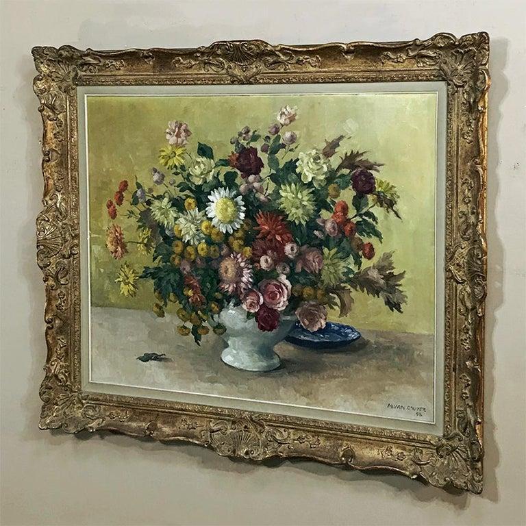 Belgian Antique Hand Painted Oil on Canvas by Marcel Van Cauter For Sale