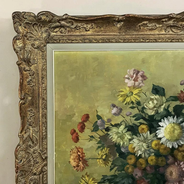 Antique Hand Painted Oil on Canvas by Marcel Van Cauter For Sale 1