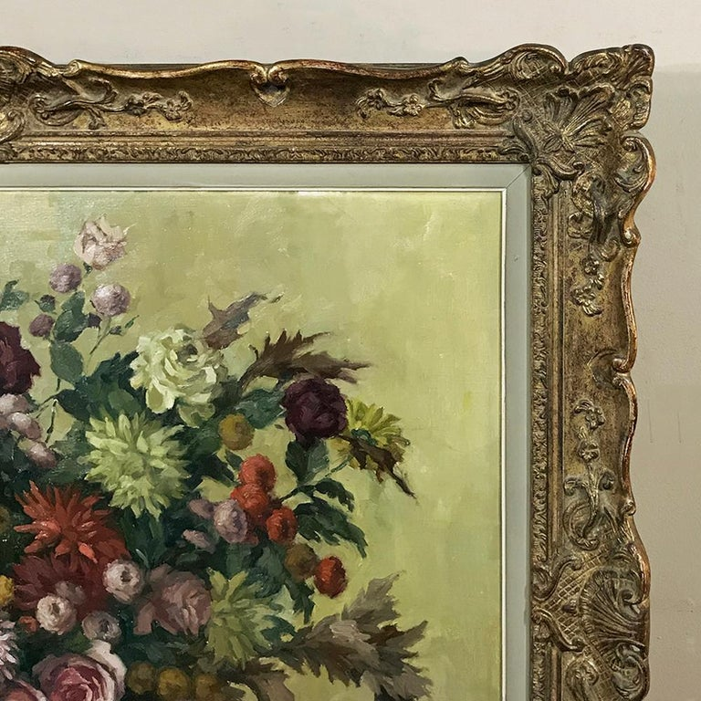 Antique Hand Painted Oil on Canvas by Marcel Van Cauter For Sale 2