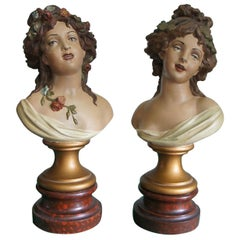 Antique Hand Painted Pair of Lady Bust Sculptures by Clodion Aka Claude Michel