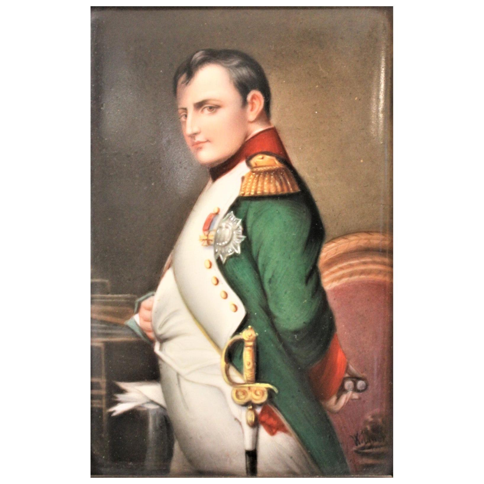 Antique Hand-Painted Porcelain Framed Plaque or Panel of Napoleon Bonaparte