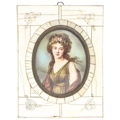 Antique Hand-Painted Portrait of Woman on Celluloid in Bone Frame