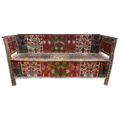Antique Hand Painted Swedish Bench with Storage