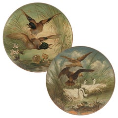 Antique Hand Painted Terracotta Hunting, Shooting Dishes, 1890