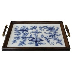 Antique Hand Painted Tile Serving Tray