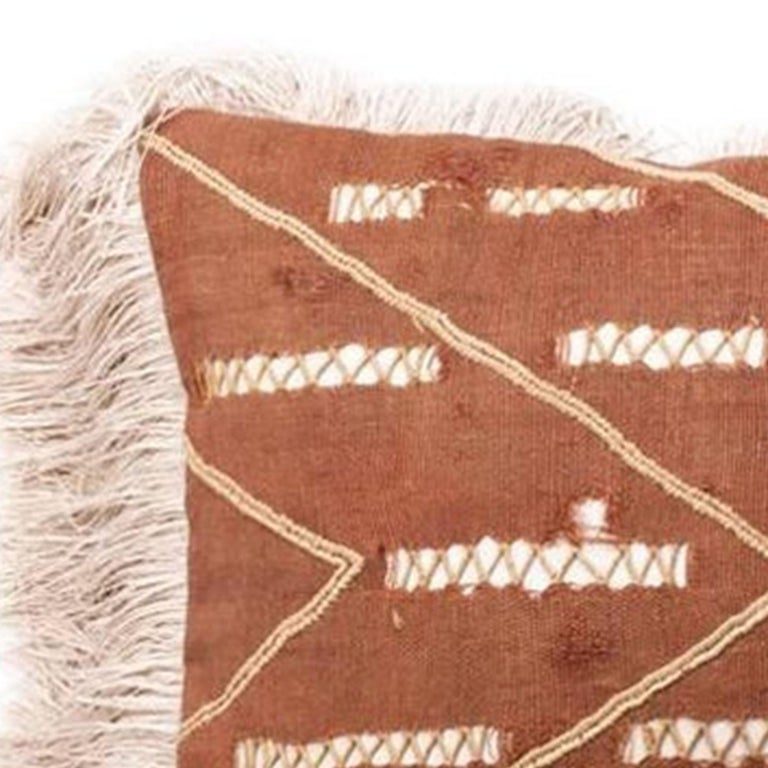 American Antique Hand Sewn Kuba Cloth with Leather Pillow For Sale