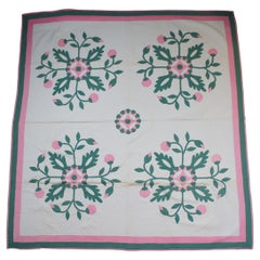 Antique Hand Stitched Rose of Sharon Quilt Bedspread Pink Green