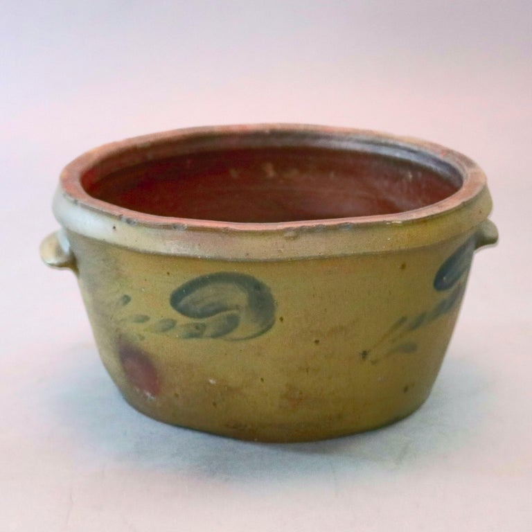 19th Century Antique Hand Thrown Blue Decorated 3-Gal Cake Crock with Stylized Floral For Sale