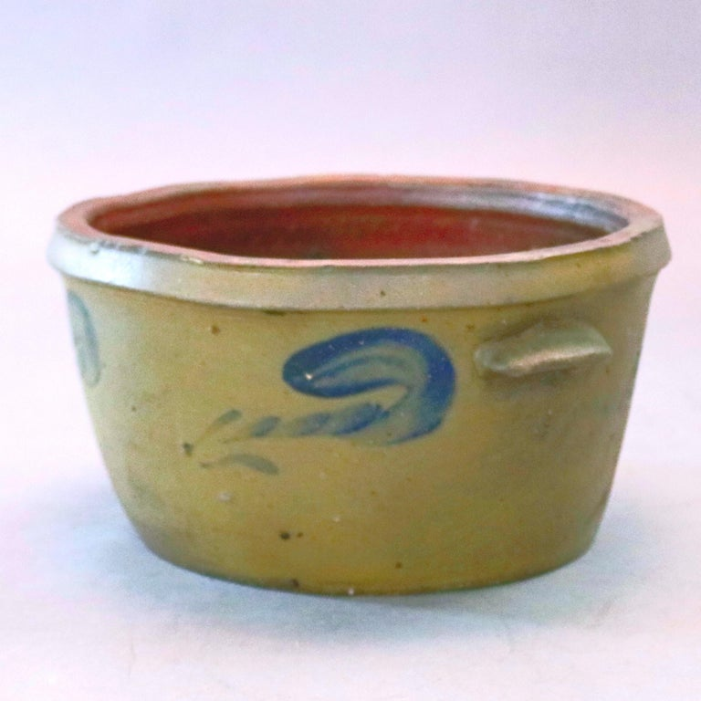 Pottery Antique Hand Thrown Blue Decorated 3-Gal Cake Crock with Stylized Floral For Sale