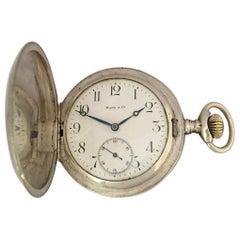 Antique Hand Winding Full Hunter Silver Pocket Watch