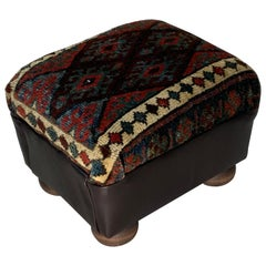 Antique Hand Woven Rug Upholstered Foot Stool